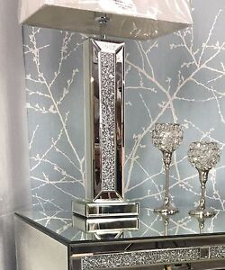 Sparkle Mirrored Diamond Glitz Crushed Crystal White Shade