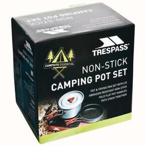 Trespass Non Stick Camping Pot Frying Pan Set With Lid Cooking Hiking Travel Set