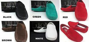 Men-039-s-GIOVANNI-faux-suede-loafers-slip-on-shoes-black-green-red-brown-white-9506