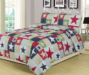 Full-Queen-or-King-Rustic-Star-Quilt-Set-Country-Primitive-Bedding-Coverlet-Red