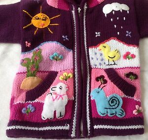 ea5e1ee9ba1af Hand knitted Alpaca Wool Children Sweaters with 3D designs
