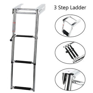 Stainless-Steel-3-Step-Under-Platform-Boat-Boarding-Telescoping-Folding-Ladder