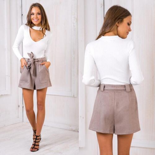 Damen Bluse Bodysuit Suit Overall Shirt V-Ausschnitt Jumper Choker Playsuits KUS