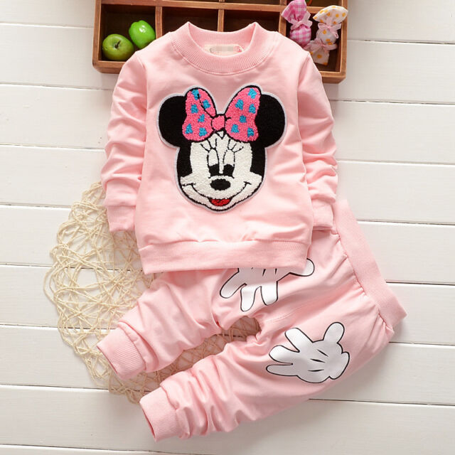 New Baby Girl Minnie Mouse Print Long Sleeve Tops T-shirt+Pants 2Pcs Outfits Set