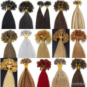 POSE-A-CHAUD-Keratine-U-Tip-Extensions-de-cheveux-naturels-Humains-Remy1G40-60CM