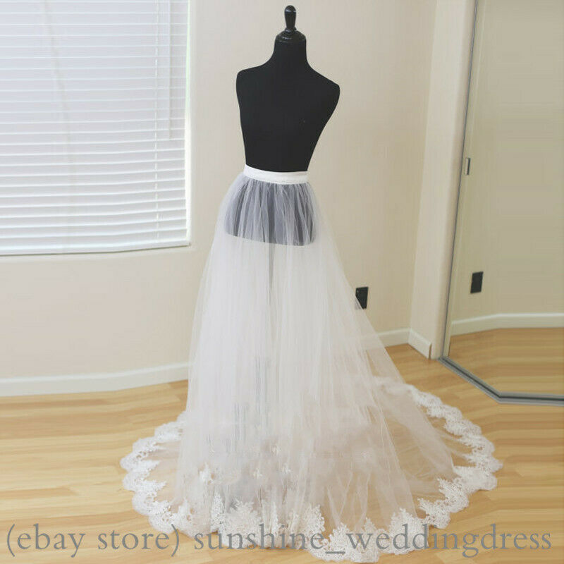 Detachable Bridal Skirt Wedding Overskirt with Lace Appliques Party Overskirts