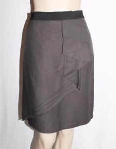 JACQUI-E-Designer-Grey-Wrap-Style-Day-Skirt-Size-10-S-BNWT-SC71
