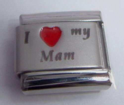 9mm fits Classic Bracelets Mother MUM I LOVE MY MAM Italian Charm Red Heart