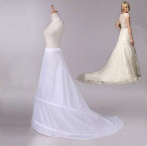 White-2-HOOP-Chapel-Train-Wedding-Dress-Bridal-Petticoat-Slips-Free-shipping