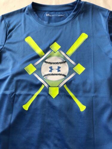 Boys Youth Under Armour HG Logo Polyester 2pc Shirt Short Set Baseball Blue NWT