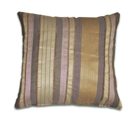 Silver and Gold Striped Cushion Covers Set of 2 18 x 18in New Square Bronze