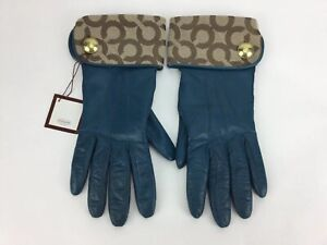 Coach-Women-039-s-Dark-Teal-Leather-Cashmere-Lined-Gloves-Signature-C-Sz-6-5-NWT