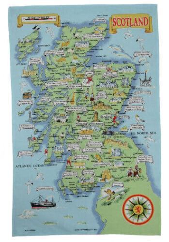 Mapa ilustrado de Escocia Toalla De Té Toalla de plato-Regalo Escocés por Glen Appin