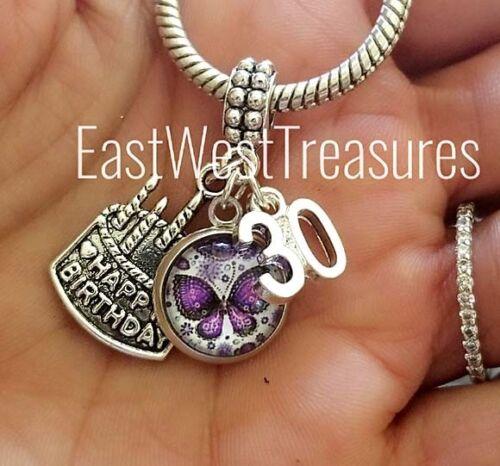 Number 30 30th birthday cake pendant for bracelet necklace Women her European