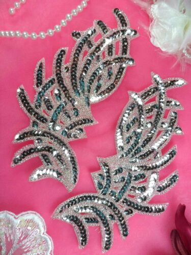 "Sequin Appliques Silver MIRROR PAIR Dance Patch Beaded Craft Supplies 7/""  JB258"