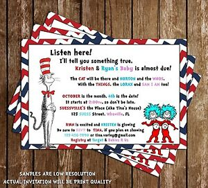 Dr Seuss Cat in the Hat Baby Shower Invitations 15 Printed W