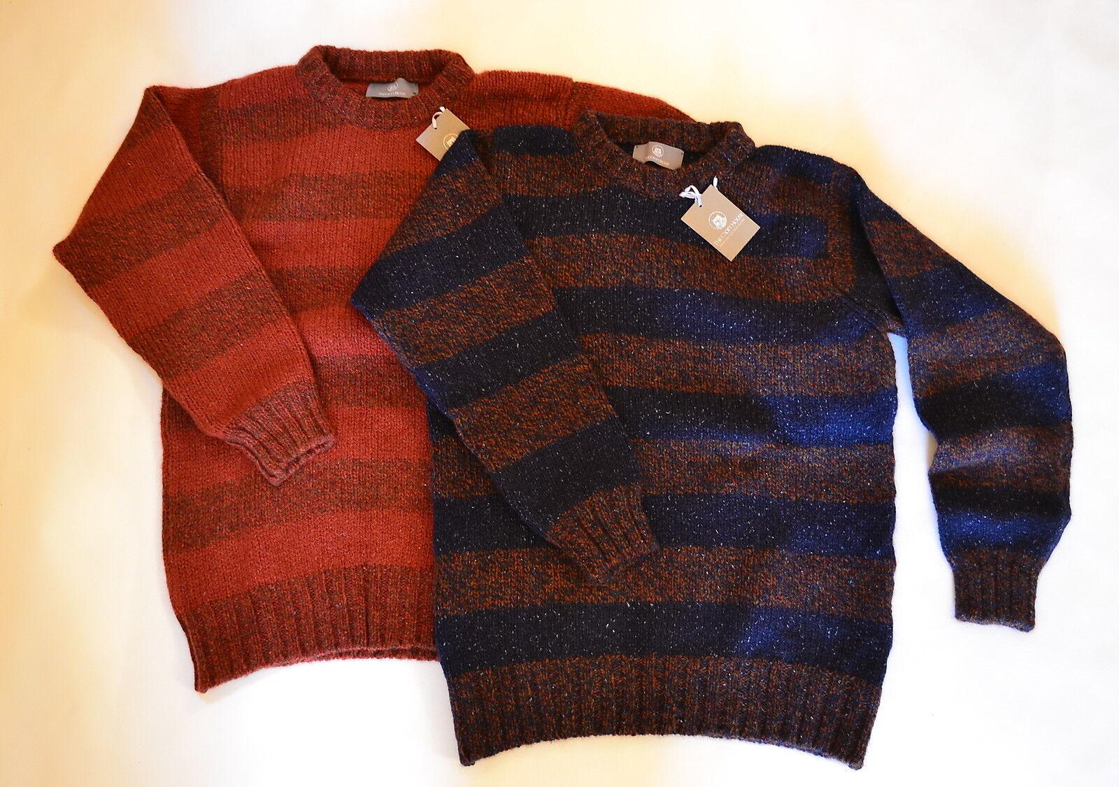 Herren Scottish wool Chunky Rugby Stripe Jumper Sweater. Blau Orange