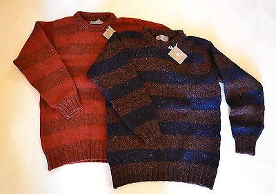 RRP £65. Mens Scottish wool Chunky Rugby Stripe Jumper Sweater. Blue Orange
