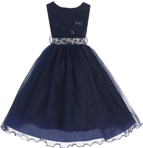 BLUSH Lace Bling Sash Little Girl Dress Wedding Graduation Summer Holiday Party