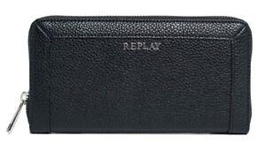REPLAY-Monedero-Zip-Around-Wallet-Black