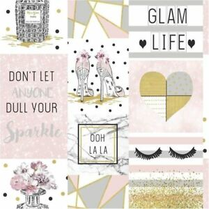 Glam Life Wallpaper Pink Gold Silver Glitter Marble Hearts Apex