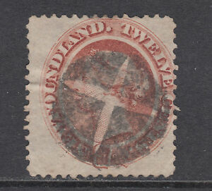 Newfoundland Sc 28 used. 1894 12c pale red brown QV, fancy cancel, thin