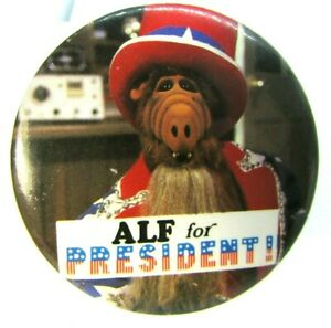 Vintage Pinback Pin Button Alf For President 80s Sitcom Series alien life force