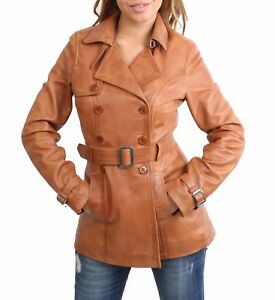 Womens-Trench-Leather-Jacket-TAN-Fitted-Double-Breasted-Reefer-Mid-Length-COAT