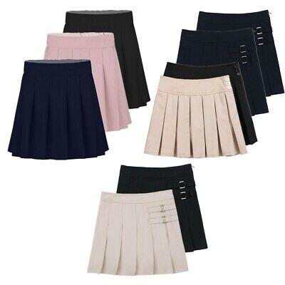 Girls School Uniform Formal Wear Pleated Skirt Stretchy Waist Black Grey Age 5-16 Years