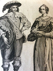 Engraving-on-Wood-Wear-Noble-English-Nobility-England-1640-Print