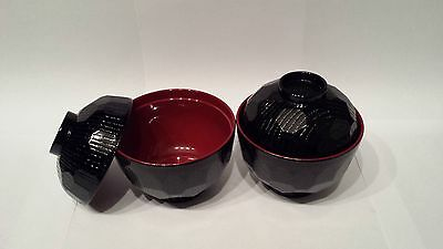 2 New Japanese Black Lacquer Miso Bowl with lid for making Miso