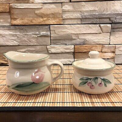 USA Pfaltzgraff Sugar Bowl /& Lid Flowers Vintage