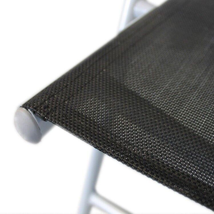 Gartenstuhl Klappstuhl Hochlehner Positionsstuhl mit Textilen Textilen mit 7-Pos Grau/Schw 2x e97c9d