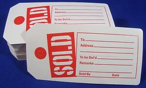 Qty-100-Red-White-Sold-Tags-with-Slit-Merchandise-Price-Tags