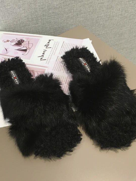 Bottes chaussons sabot noir doux laine polaire fourrure comme cuir 1466