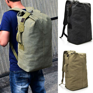 Image is loading Mens-Canvas-Travel-Backpack-Rucksack-Hiking-Travel-Climb-