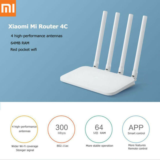 Xiaomi Mi Router 4C 4 Antennas 2.4G 300Mbps APP Control WiFi Wireless Router US