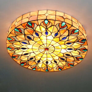 Details About 21 Retro Tiffany Ceiling Lights Stained Shell Dining Room Light Fixtures New