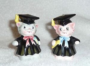 Vintage Py Japan Black Cat Graduating Salt and Pepper Shakers Pink Grey Anthro
