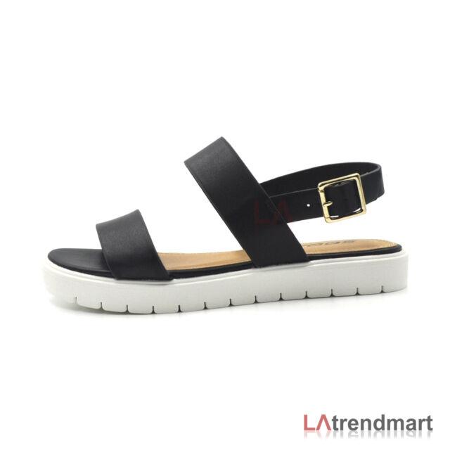 941291ea0 Hot Women Open Toe Sandals Slingback Flat Casual Ankle Buckle Strap ...