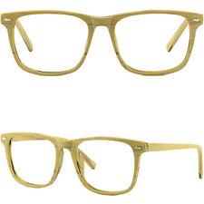Herren Damen Brille Kunststoff Holz Fassung Gestell Kleine Applikation Eckig