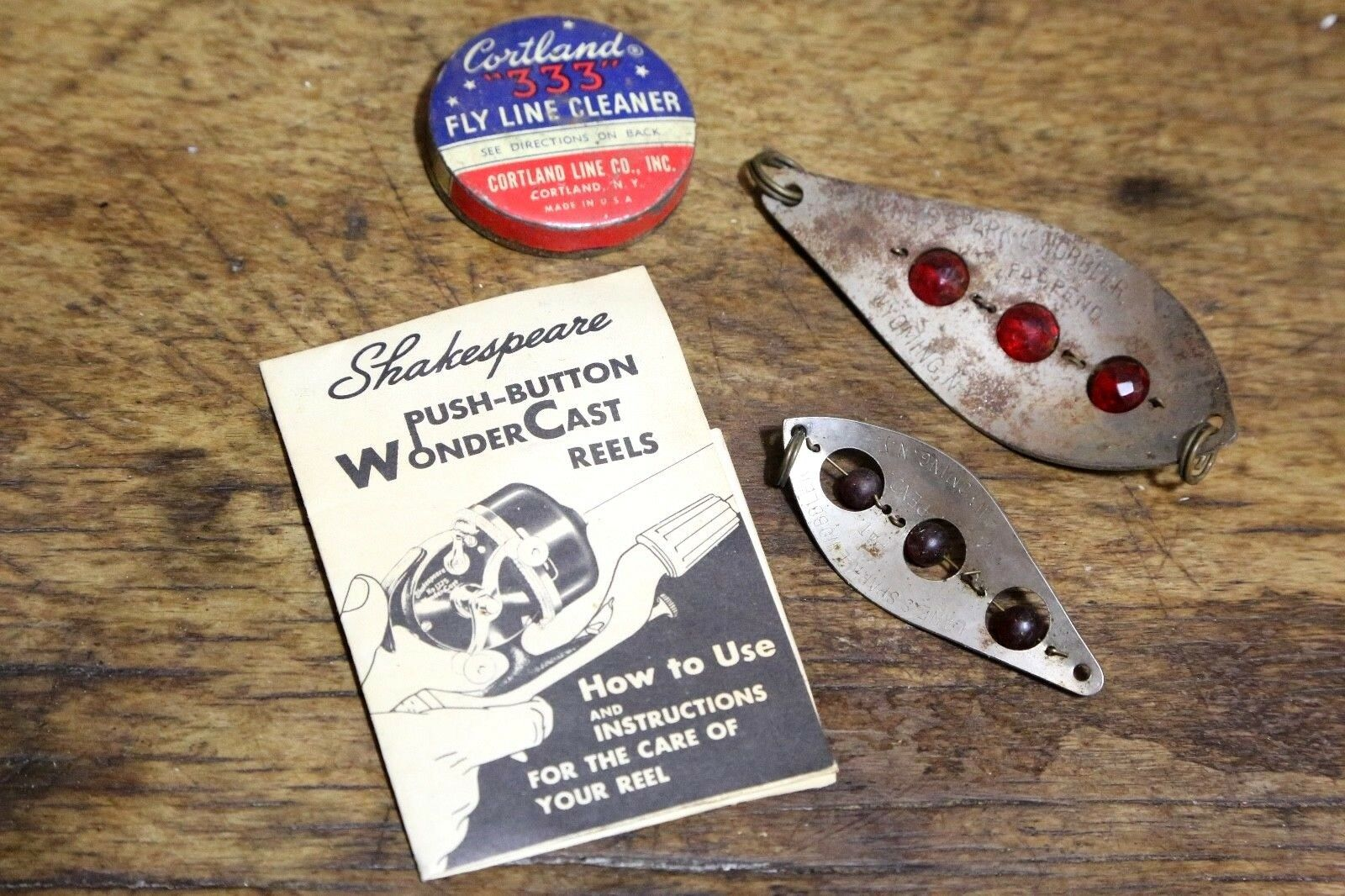 Vintage Fishing Lot - Shakespeare Reel Booklet Fly Line Can Spark L Wobbler Lure