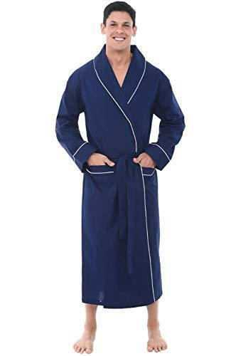 2XL bluee Men's Bathrobe Lightweight Soft 100% Cotton Summer Spa Robe Extra XXL