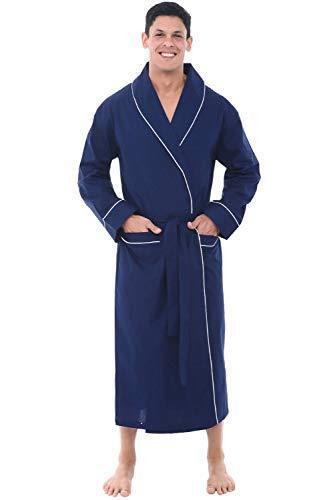 2XL Blue Men/'s Bathrobe Lightweight Soft 100/% Cotton Summer Spa Robe Extra XXL