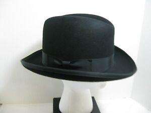 Black Godfather Homburg Wool Felt Hat Medium 1950 s Men s Classic ... c879a581adc7