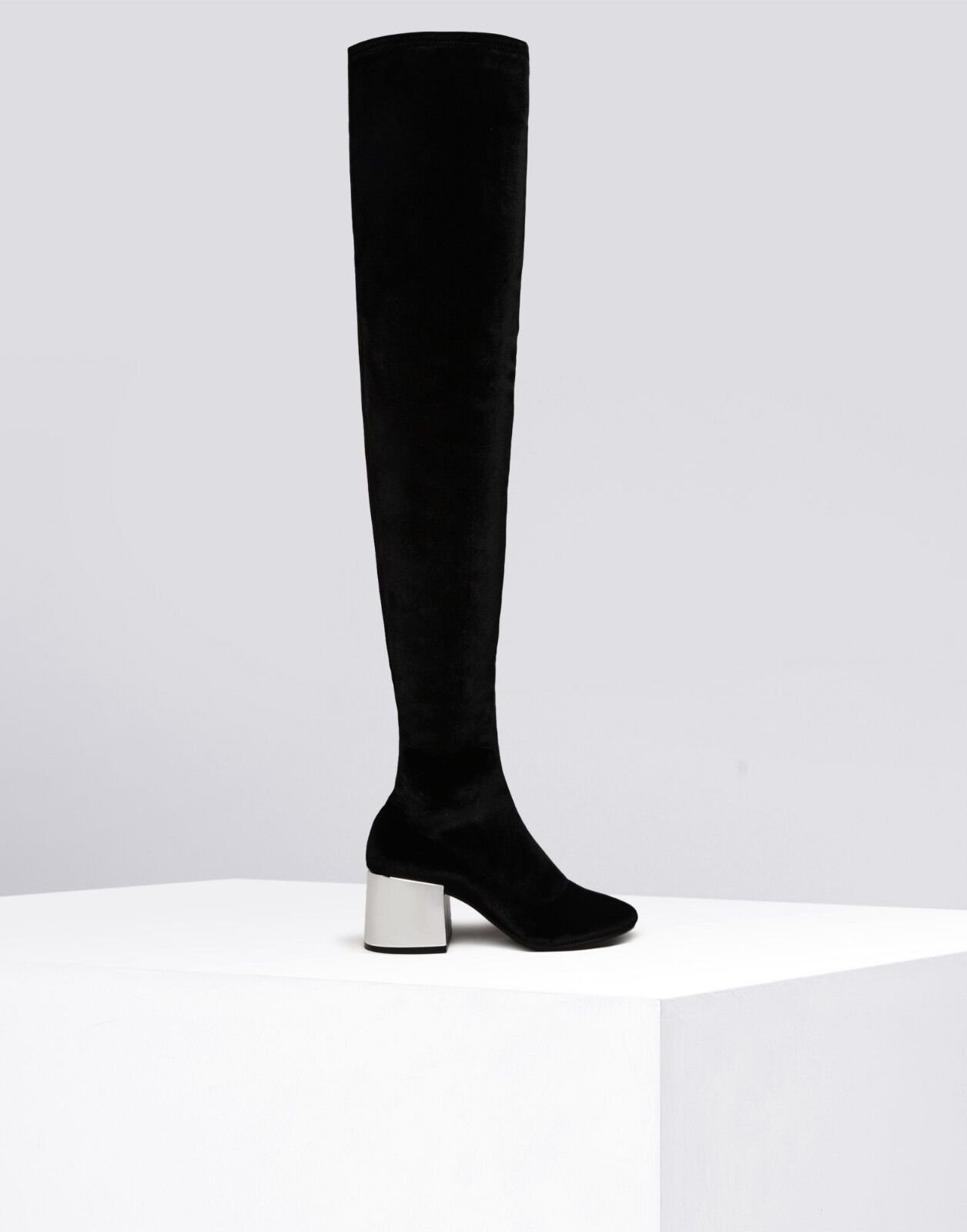 MM6 Maison Margiela Womens Stretch Velvet Over-the-knee Black Boots Size EU 40