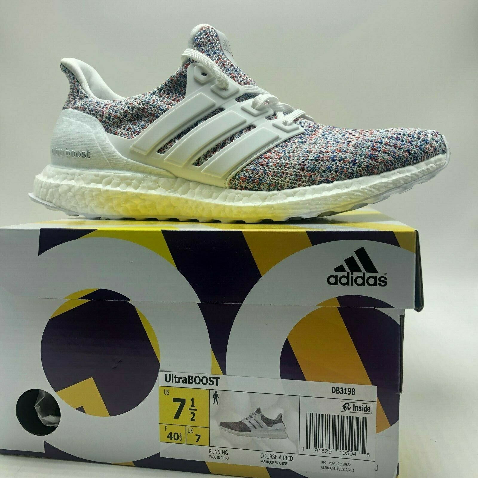 596813298ce adidas Ultra Boost Mens Db3198 White Multicolor Primeknit Running ...