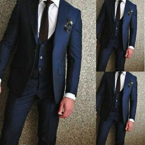 Bleu Marine Homme Marié Mariage Costumes 3 Pièces Business Party Prom Homme Formel Smoking-afficher Le Titre D'origine
