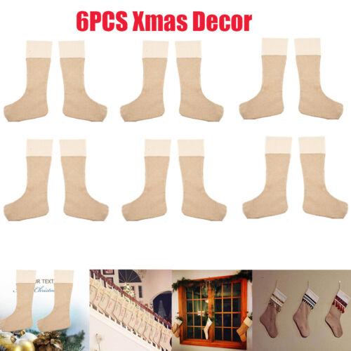 Details about  /6Pcs Xmas Stocking Burlap Christmas Stockings Plain Fireplace Decor Decoration