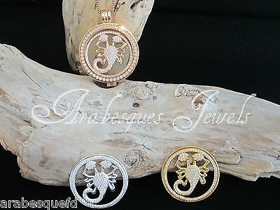 Med 24mm GENUINE STERLINA MI MILANO SCORPION COIN/MONEDA 4 NECKLACE PENDANT AJMM